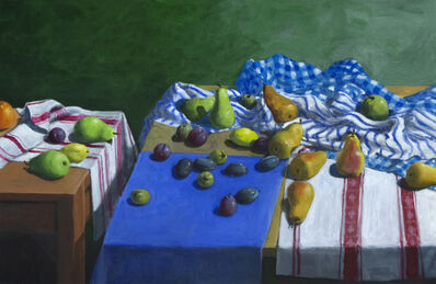 Paul Wonner, 'Fruit and Kitchen Towels (Two Tables)', 2001