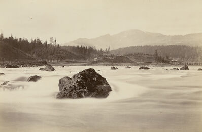Carleton E. Watkins, 'Cascades, with Indian Block House', ca. 1882