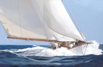 """Michel Brosseau, '""""Speed & Foam"""" Large Elegant oil Painting of A wooden Sailing Yacht Moving Through Waves', 2010-2017"""