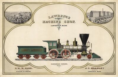 "Unknown, 'Lawrence Machine Shop.  Lawrence, Mass.  Engine ""Abbott Lawrence,""', ca. 1850"