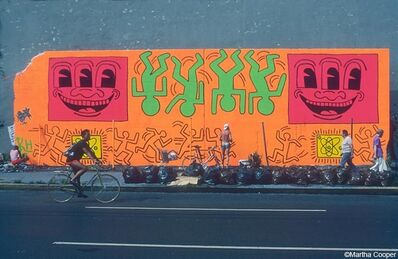 Martha Cooper, 'Keith Haring Painting the Bowery Wall', ca. 80s