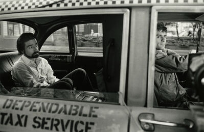Steve Schapiro, 'Martin Scorsese in the Back of DeNiro's Cab during Filming of Taxi Driver, New York', 1975