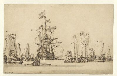 Willem van de Velde II, 'De Gouden Leeuw Coming to Anchor in the IJ', 1673