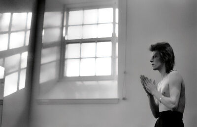 Mick Rock, 'David Bowie. Praying by windows, Aberdeen', 1973