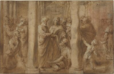 Peter Paul Rubens, 'The Miracle of the Lame Man Healed by Saint Peter and Saint John, over Anonymous Italian after Parmigianino after Raphael', ca. 1606/1608