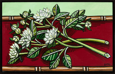 David Bates, 'Dahlias on Red Table', 2016