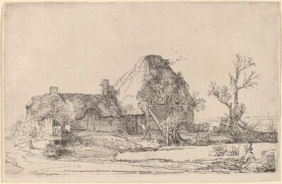 Rembrandt van Rijn, 'Cottages and Farm Buildings with a Man Sketching', ca. 1645