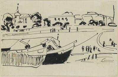 Ernst Ludwig Kirchner, 'Elbkähne in Dresden ( Barges on the Elbe River in Dresden)', ca. 1909
