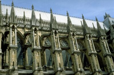 'Reims Cathedral: exterior, detail of flying buttresses on south side of nave', ca. 1211-1290