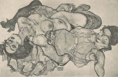 "Egon Schiele, '""Two Girls Lying Entwined"", Zeichnungen (plate VIII)', 1917"