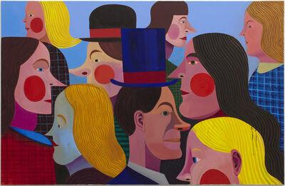 Christoph Ruckhäberle, 'Festwiese (people in profile red cheeks)', 2011