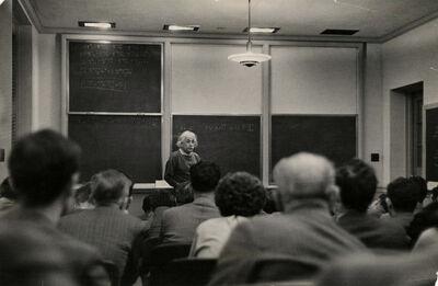 Alfred Eisenstaedt, 'Albert Einstein, the institutes most famous member lecturing in it's only classroom', 1940-1947