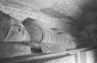 James and Lucy Lo, 'Parinirvana, Mogao Cave 158, dated Middle Tang dynasty (781–848). Dunhuang, Gansu province.  The Lo Archive', Photograph taken in 1943–44