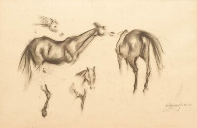 "Sunil Das, 'Early Horses VIII, Drawing, Charcoal on Paper by Taj Shiromoni Awardee Artist ""In Stock""', 1959"
