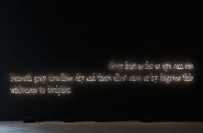 Joseph Kosuth, ''Texts for Nothing #20' (Grey dust as far as eye can see beneath grey cloudless sky and there all at once or by degrees this whiteness to decipher./Polvere grigia a perdita d'occhio sotto un cielo grigio senza nuvole e là improvvisamente o a poco a poco dove polvere sola possibile questo biancore da decifrare.)', 2010