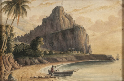 John Herbert Caddy, 'Three Topographical Views of the West Indies: Two Depicting Brimstone Hill, St. Kitts, One Depicting The Pitons or Sugar Loaves, St. Lucia'