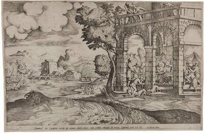 Domenico Campagnola, 'Banquet of the Rich Man and Lazarus, Set in a Landscape', ca. 1552