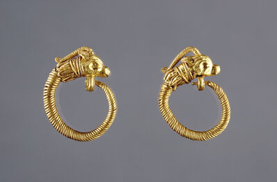 'Hoop Earrings with Antelope Head Finials', 220 -100 BCE