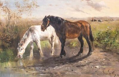 Henry Schoute, 'Horses in a Field', Late 19th Century