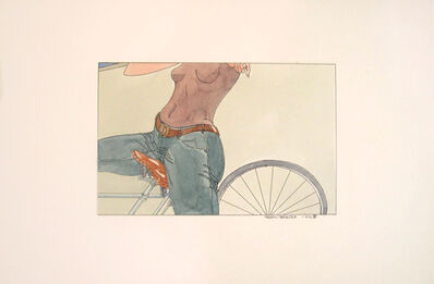 Masami Teraoka, 'Bicycle Woman at Venice Nude Beach', 1973