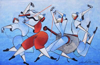 David Schluss, 'Les Danseurs En Bleu', 2017