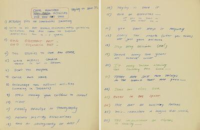 Walter De Maria, 'One Hundred Activities', 1960-1961
