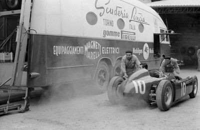 Jesse Alexander, 'Lancia D50 with Transporter, Pau, France', 1955
