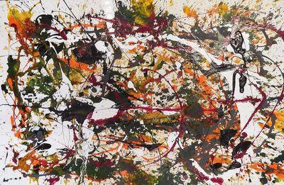 Bill Alpert, 'Untitled Drip in Orange, Green, Black and Maroon', 1971-1973