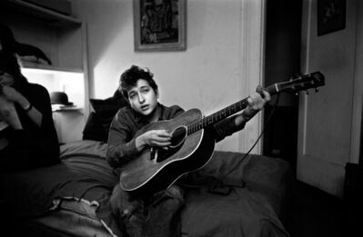 Ted Russell, 'Bob Dylan Playing His Gibson Guitar, 161 W 4th St., New York, NY', 1961