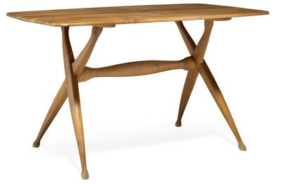 Peder Moos, 'Unique work table of solid pearwood, cross-leg frame with sculptural stretcher. Ends of table top with inlays of light wood.'