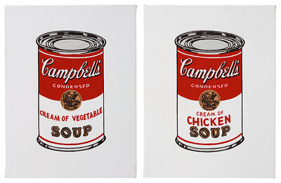 Richard Pettibone, 'ANDY WARHOL (CREAM OF VEGETABLE & CREAM OF CHICKEN FROM 32 CAMPBELL'S SOUP, 1962)', 1987