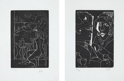 Edward Burra, 'Fleet's Inn; and Two at the Bar, from Woodcuts 1928-29', 1971