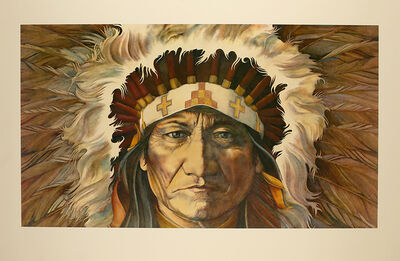 Robert Allrich, 'War Bonnet, American Indian, Cherokee, Navajo, Sioux, Apache, Blackfeet  Limited Edition Print', 1986