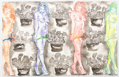 Ghada Amer & Reza Farkhondeh, 'Pot de Fleurs Culote de Soie', 2017