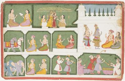 Unknown Artist, 'Krishna and Balarama return to Dwarka ad Balarama marries Revati', 1741