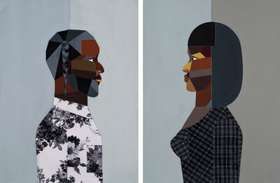 Derrick Adams, 'Pair: Figure Walking Into the Light (Woman) & (Man)', 2018