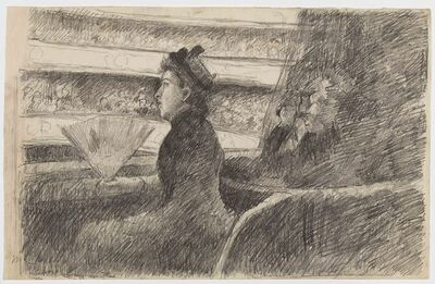 "Mary Cassatt, 'Drawing for ""Lady in Black in a Loge, Facing Right"" (Au Spectacle)', 1879-80"