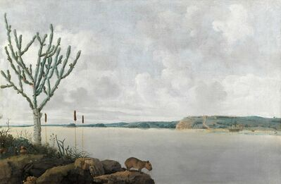 Frans Post, 'View of the Rio São Francisco Brazil with Fort Maurits en a capibara', 1639