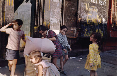 Helen Levitt, 'N.Y.C. (kids with laundry)', 1972