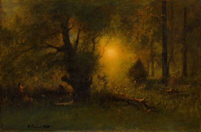George Inness, 'Sunrise in the Woods', 1887