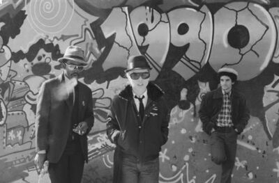 Bobby Grossman, 'Fab 5 Freddy, Debbie Harry and Lee Quinones, Handball Court at Pike & Cherry', 1980