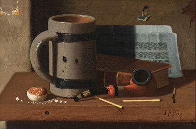 John Frederick Peto, 'Tankard, Pipe, Matches, and Biscuit', 1887