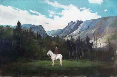 Peter Hoffer, 'Mountie - large, figurative, trees, horse, acrylic and oil painting on jute', 2018