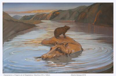 Alberto Baraya, 'Hipopótamo y Chiguiero en el Magdalena', 2019