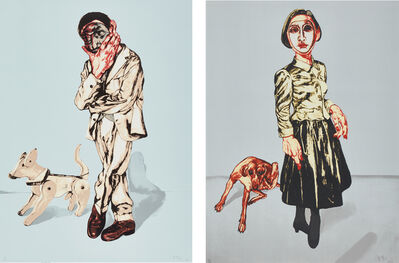 Zeng Fanzhi, 'Mask Series: two plates (Man and Dog; and Woman and Dog)', 2006