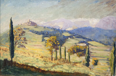Sir Winston Churchill, 'A Distant View of Eze', ca. 1930