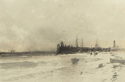 Alfred Thompson Bricher, 'Seascape with Pier and Lighthouse', Late 19th century
