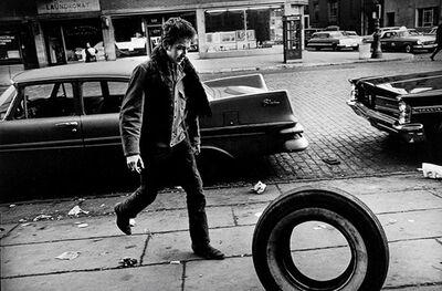 Jim Marshall, 'Bob Dylan (with Tire), New York', 1963