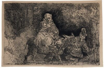 Rembrandt van Rijn, 'The Flight into Egypt: Crossing a Brook', ca. 1637