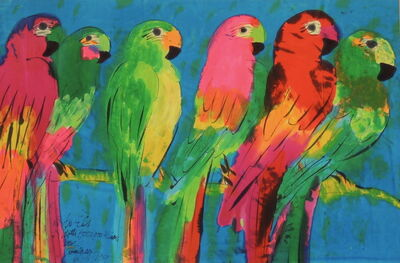 Walasse Ting 丁雄泉, 'Six Parrots', 1989